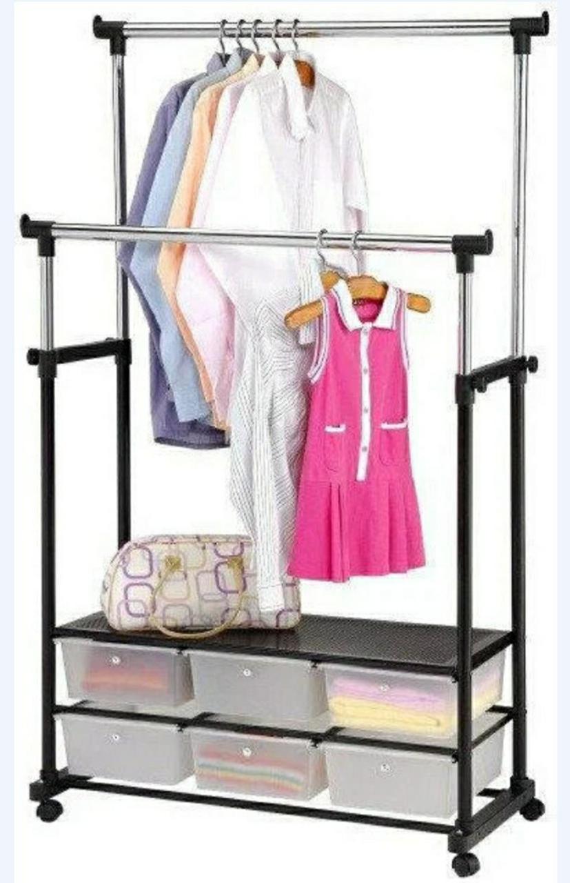 Вешалка стойка для одежды напольная двойная телескопическая Double-Pole Clothes-horse BIG