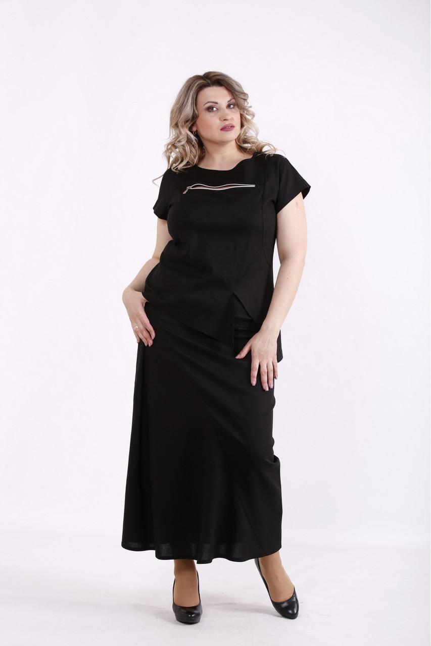 01455-1 | Черный льняной костюм: юбка и блузка женский большого размера