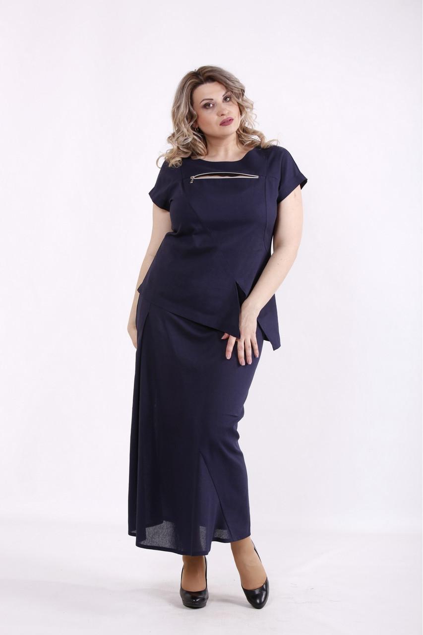 01455-3   Синій лляний костюм: спідниця і блузка жіноча великого розміру