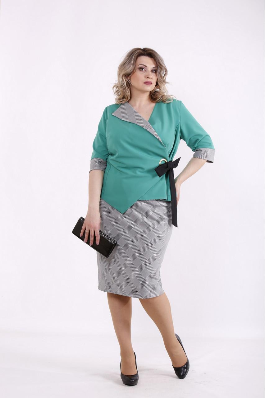 01463-2 | Зелений діловий костюм: спідниця і блузка жіноча великого розміру