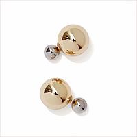 Серьги шары Dior цвет Золотой-серебряный металлик