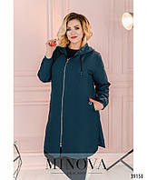Лёгкая яркая куртка-дождевик плюс сайз, застёгивается на молнию спереди по центру с 48 по 62 размер