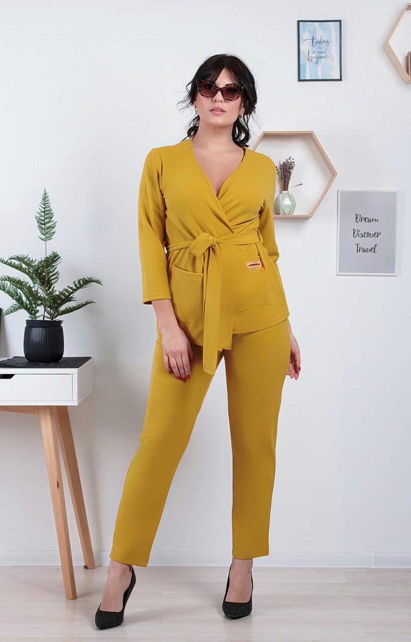 Костюм жіночий брючний, блуза з брюками, повсякденний стиль р. 46,48,50,52,54,56,58,60 код 1023О