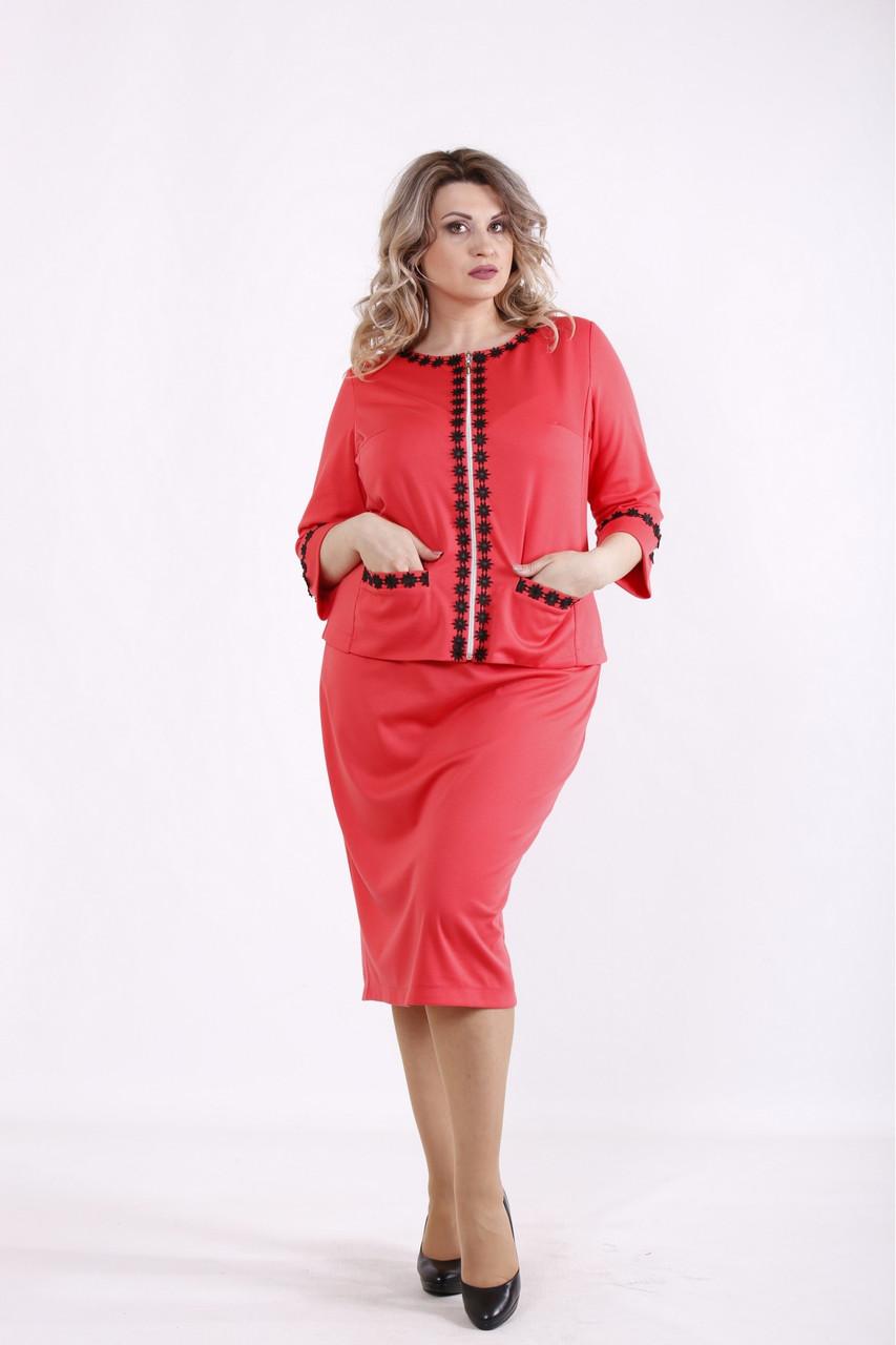 01464-3 | Кораловий костюм: спідниця і блузка жіноча великого розміру