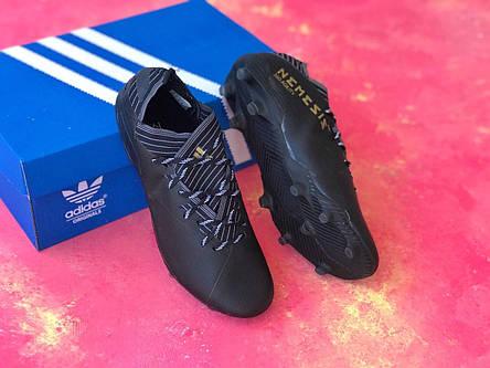 Бутсы футбольные Adidas Nemeziz 19.1 черные, фото 2