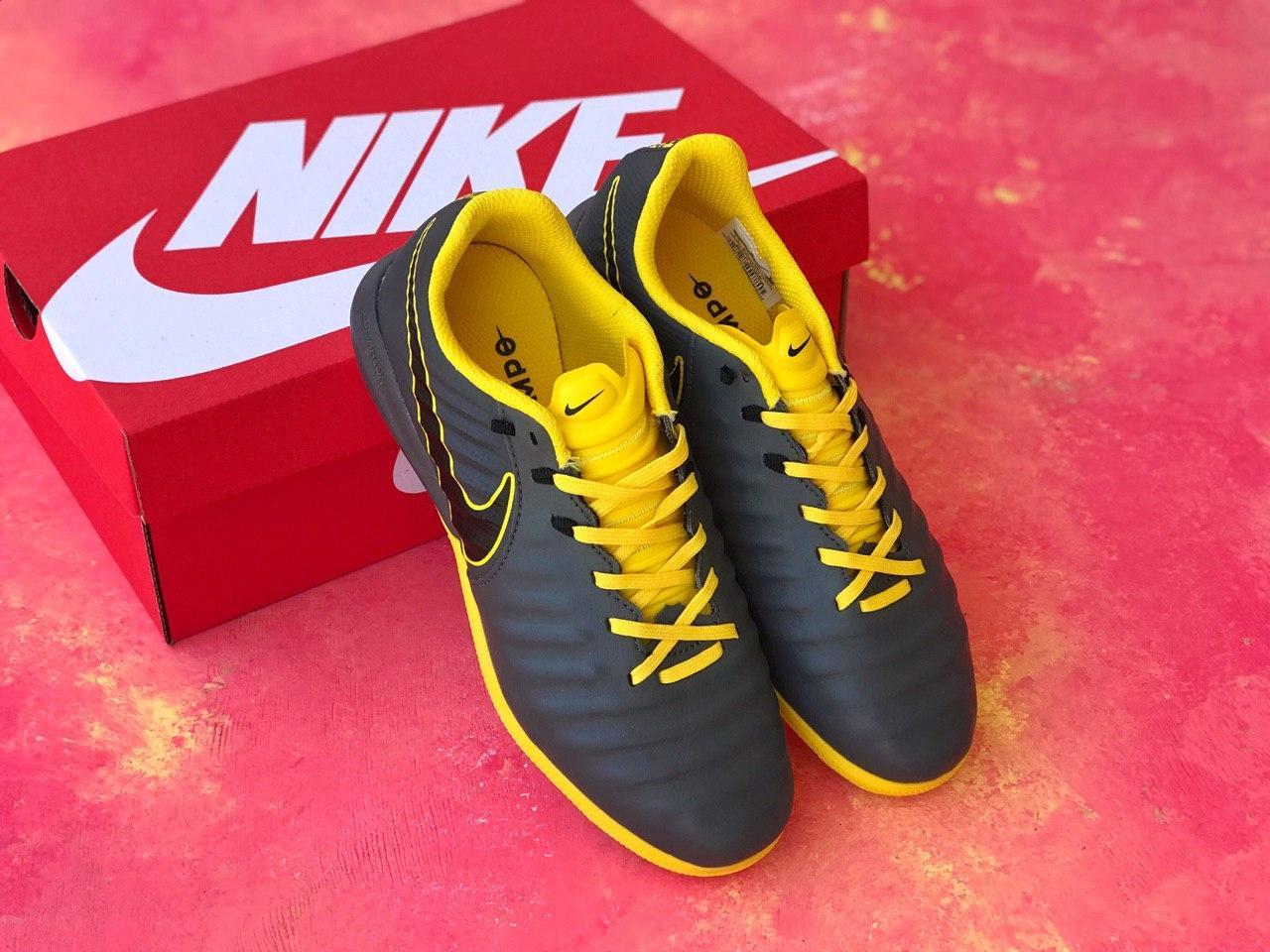 Сороконожки для футбола Nike Tiempo Ligera IV TF с желтой отделкой