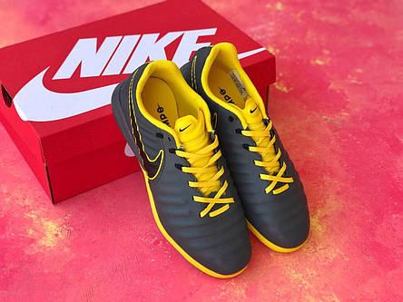 Сороконожки для футбола Nike Tiempo Ligera IV TF с желтой отделкой, фото 2