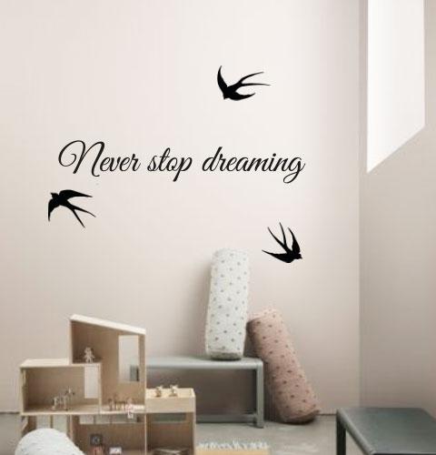 Текстовая наклейка Never stop dreaming (невер стоп, никогда не останавливайся, мечтай)