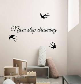 Текстова наклейка Never stop dreaming (невір стоп, ніколи не зупиняйся, мрій)