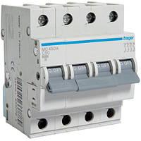 Автоматичний вимикач 4P 6kA C-50A 4M Hager, фото 1