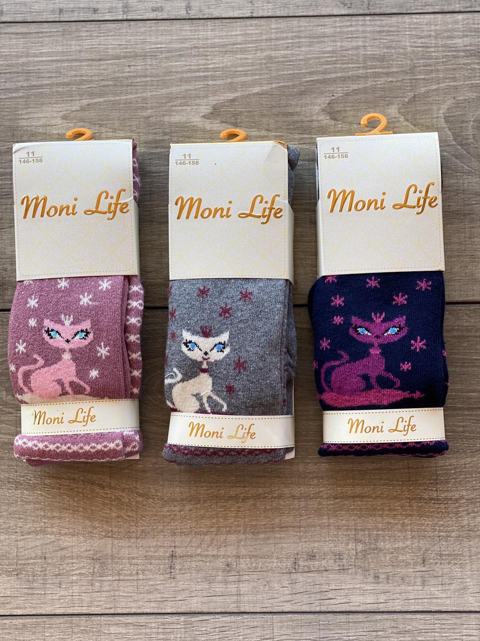Дитячі колготи бавовна Moni Life з котиками для дівчаток 5,7,9,11 років 6 шт в уп мікс кольорів