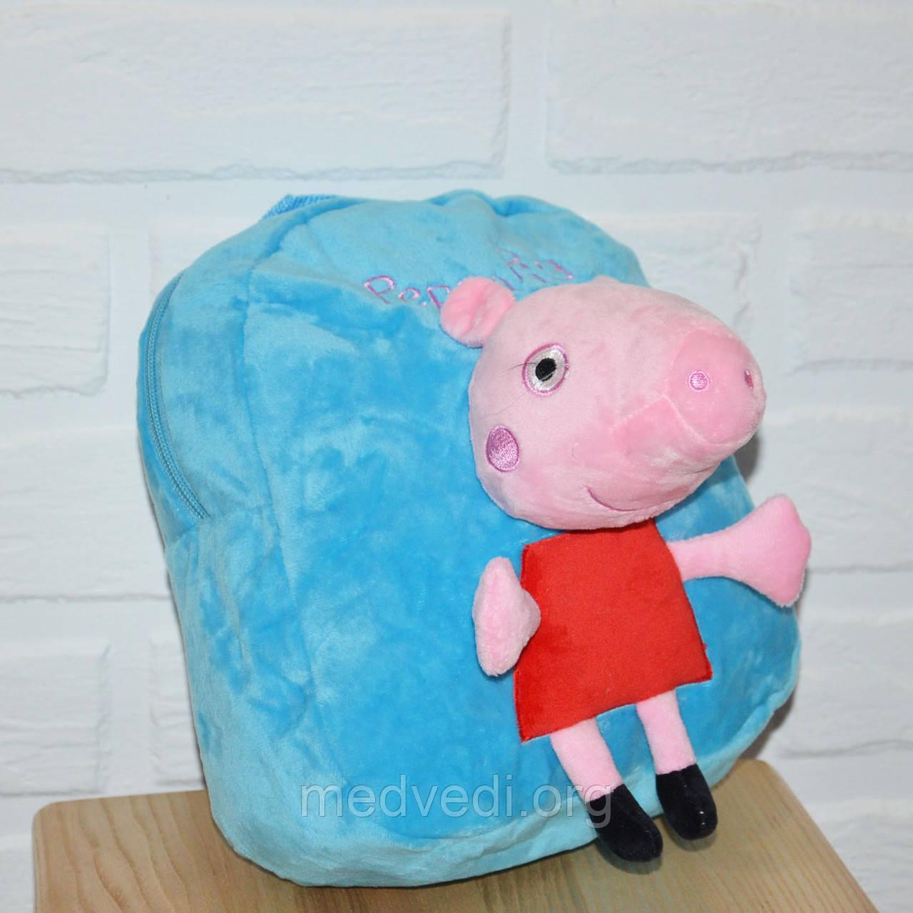 Детский синий рюкзак для мальчика свинка