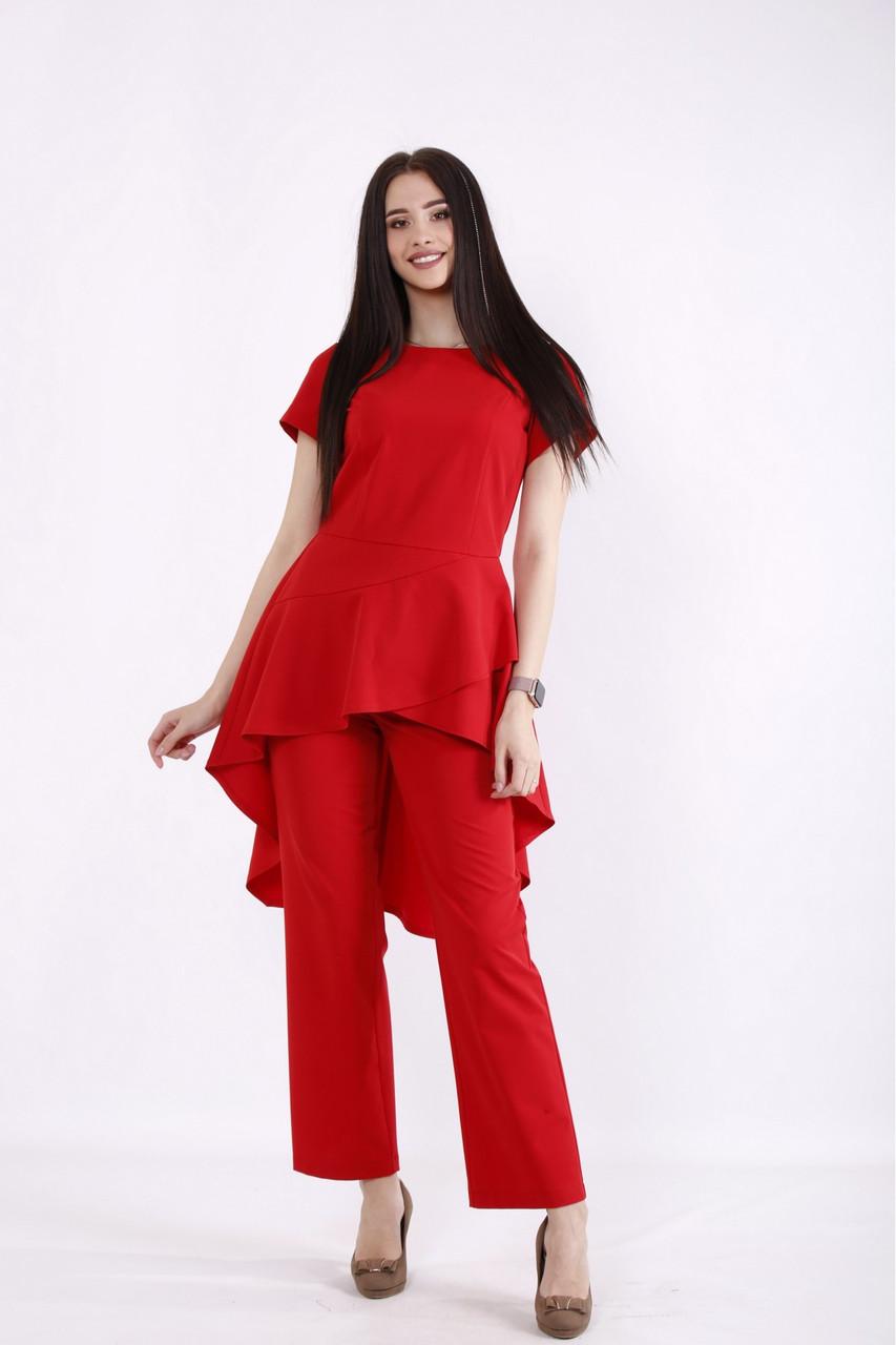 01462-1   Червоний костюм: штани і блузка жіноча великого розміру