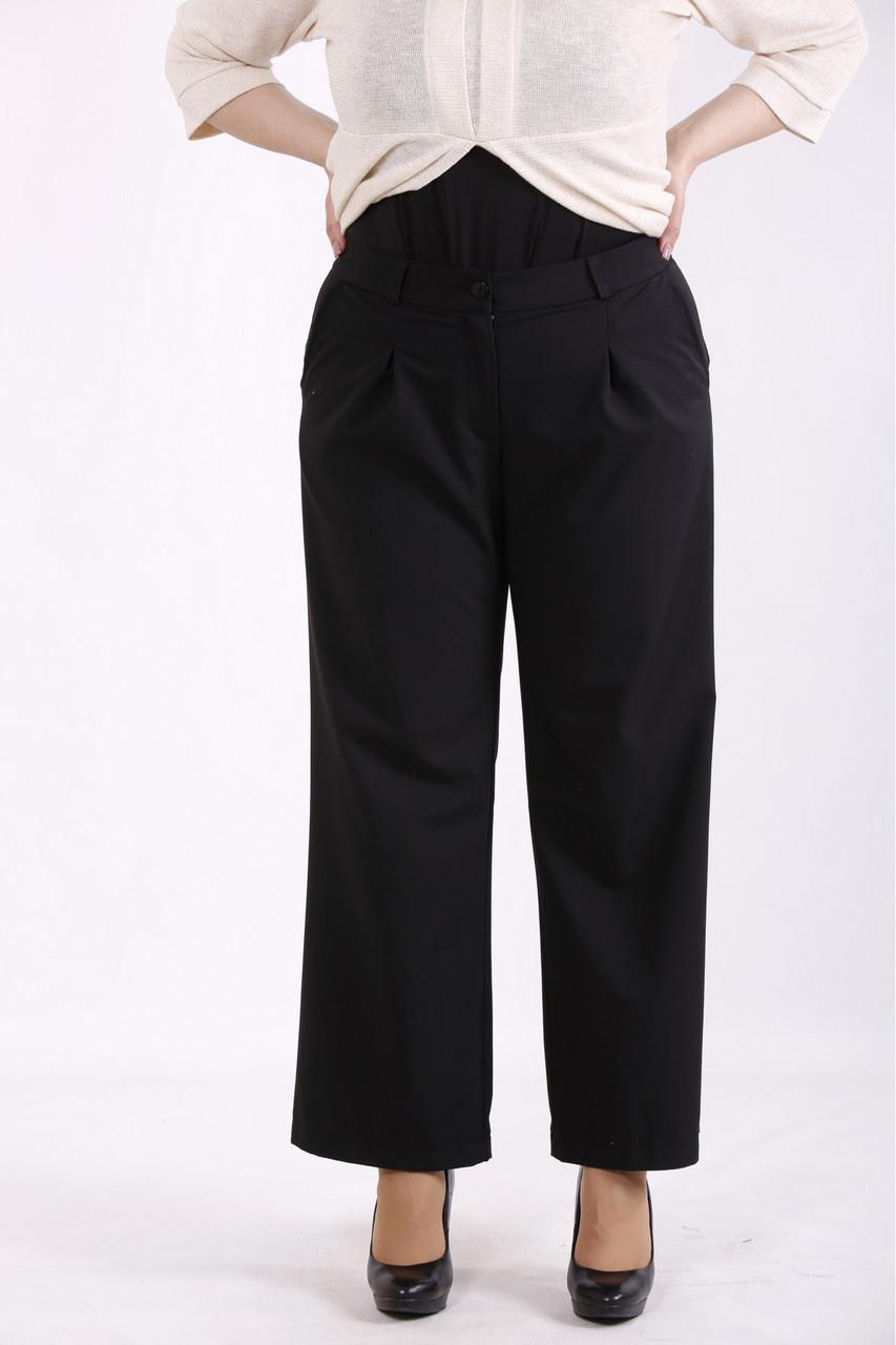 01459-1   Чорні брюки жіночі великого розміру + майка в тон у подарунок!