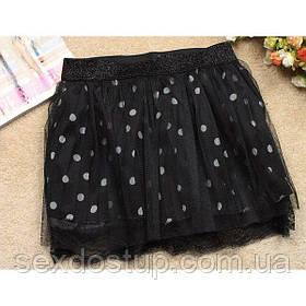 Черная юбка в горошек