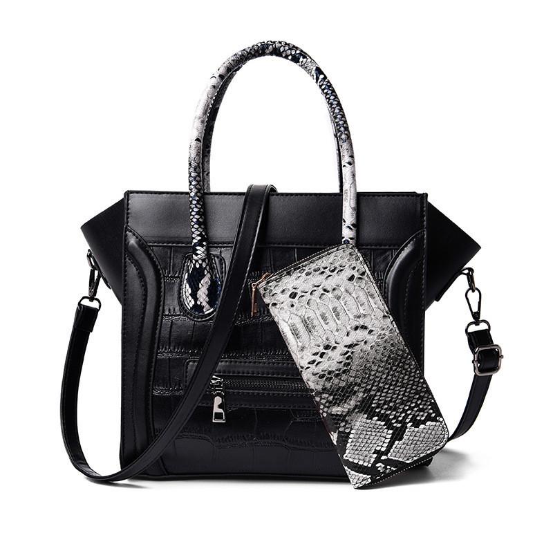 Женская сумочка и кошелек экокожа набор 2 в 1, черный