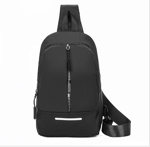 Молодежный рюкзак на одно плечо с выводом для  USB кабеля, черный
