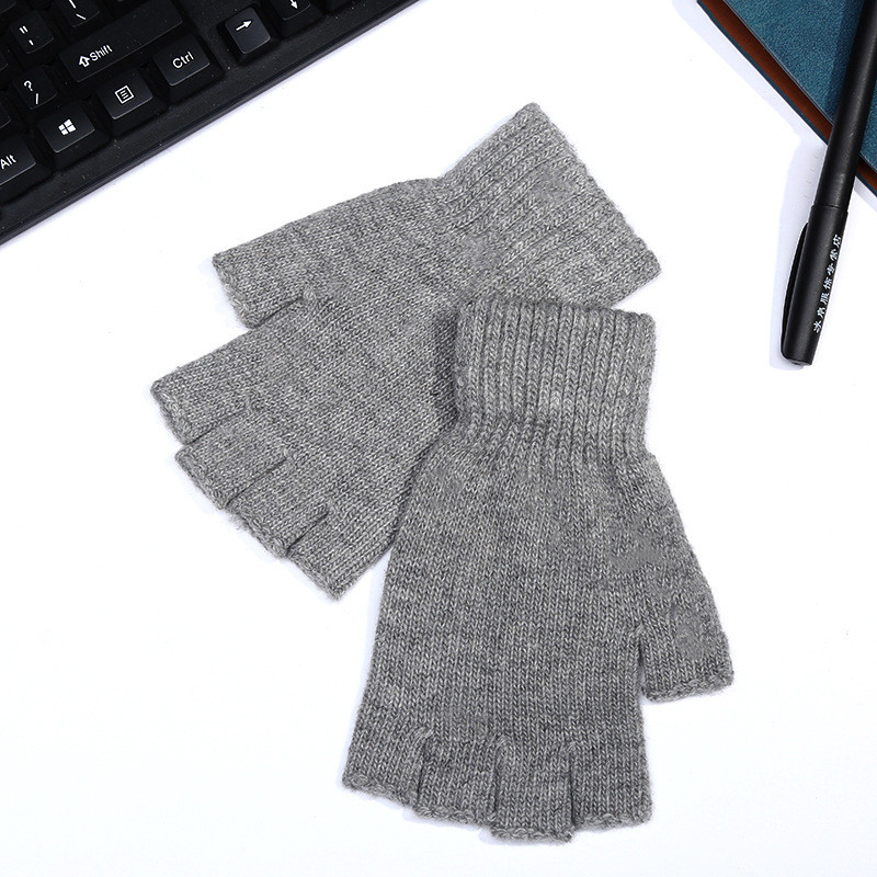 Мужские перчатки митенки с открытыми пальцами, серые