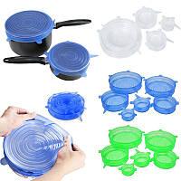 Набір багаторазових силіконових кришок для посуду Super Stretch 6 штук, різні розміри