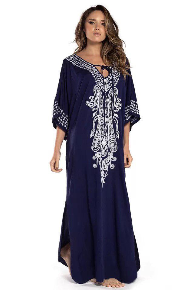 Туника-платье пляжная синего цвета с вышивкой