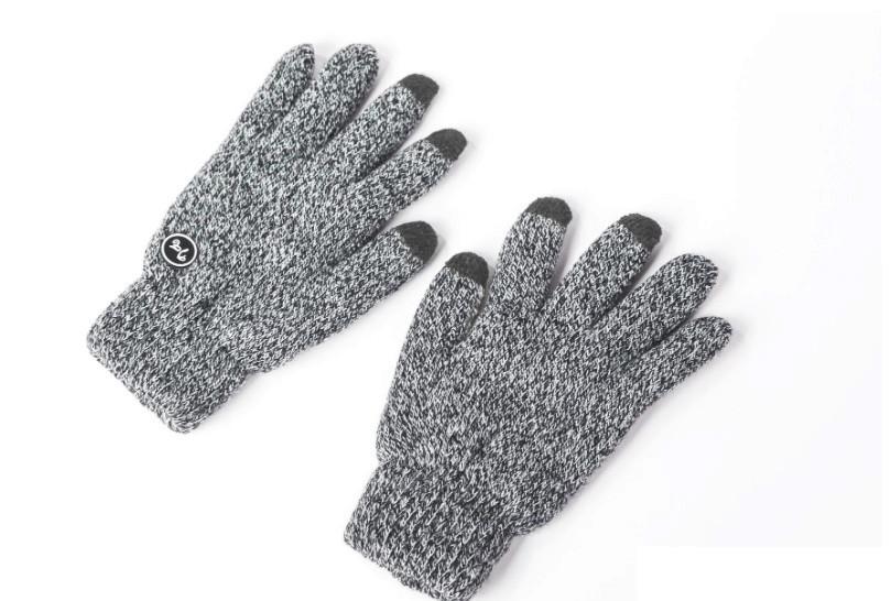 Перчатки мужские зимние теплые с сенсорными пальцами, меланжевые, светло-серые