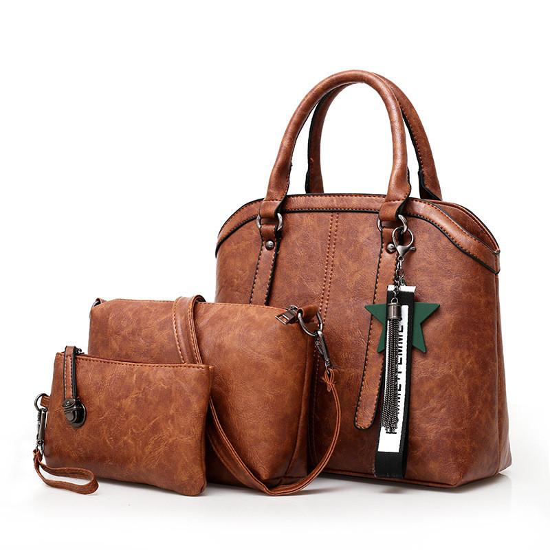 Набор женских сумок экокожа 3 в 1 с брелочком, коричневый