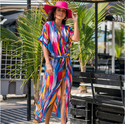 Туника пляжная женская шифоновая с ярким абстрактным рисунком