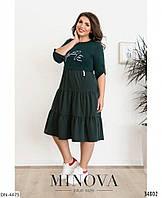 Комбинированное свободное женское платье на каждый день размеры батал 50-60 арт 138