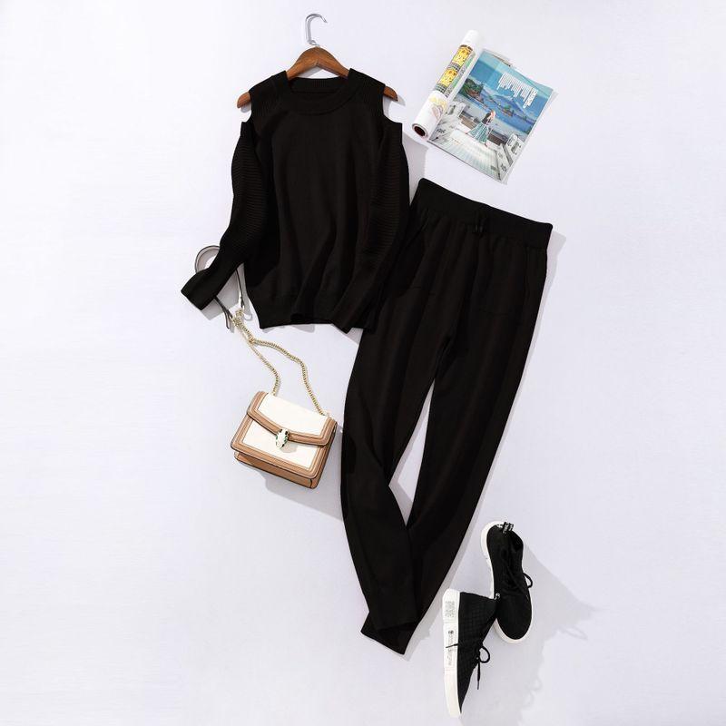 Костюм женский трикотажный  двойка  кофта и штаны весенний, черный  M\L