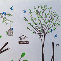 РАСПРОДАЖА! Виниловая наклейка - Дерево, клетка и птички