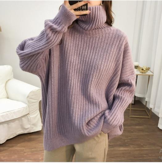 Свитер женский светло-фиолетовый стильный теплый с высоким воротником