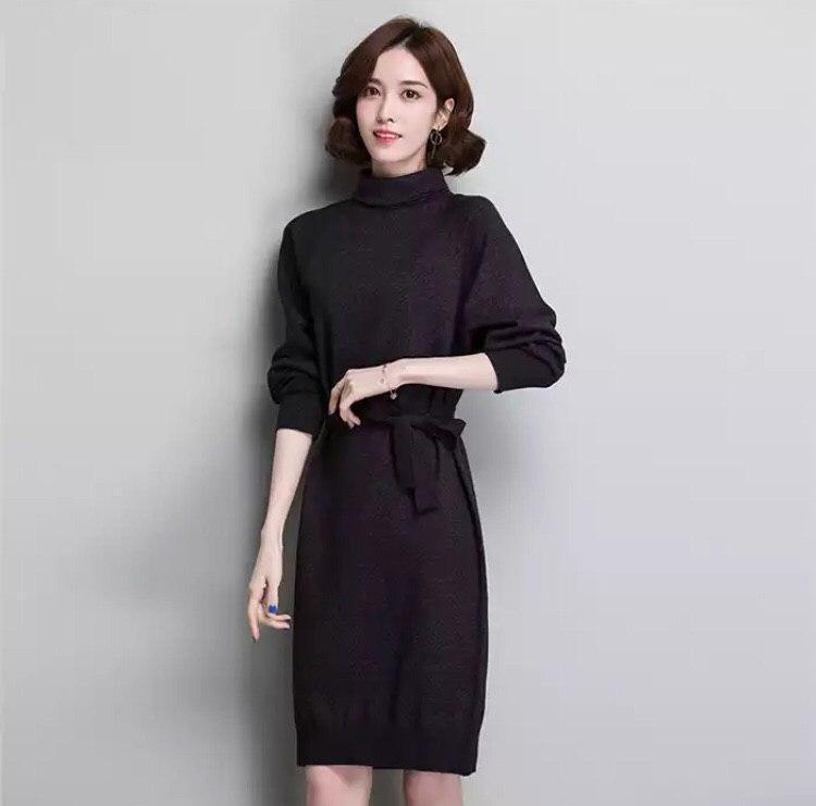 Платье женское трикотажное оверсайз, черное, размер S/M/L