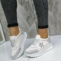ТОЛЬКО 40р. Белые кожаные женские кроссовки на платформе, кожаные кроссовки 40р-25,5 см