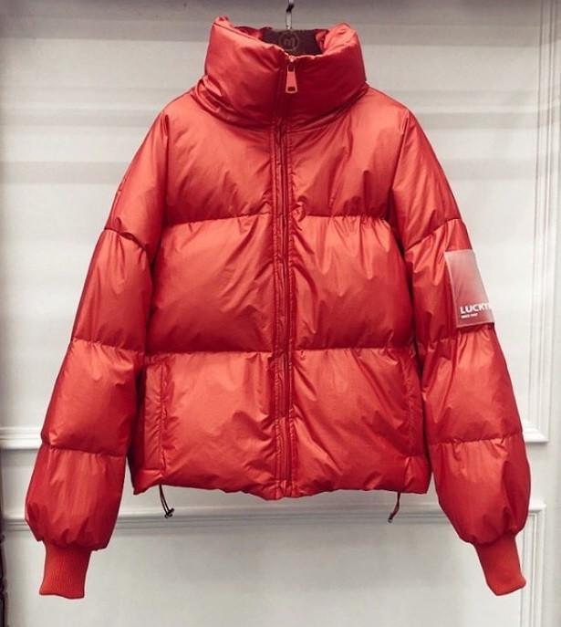 Куртка-пуховик женская оранжевая,  молодежная теплая металлик, оверсайз  S\M