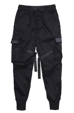Чёрные штаны в стиле Сyberpunk с ремнями мужские женские