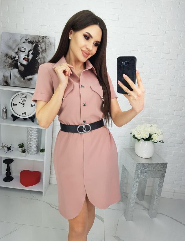 Летнее платье-рубашка с поясом