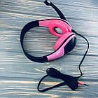 Наушники проводные Akorn OK-1018 с микрофоном Розовый, фото 2