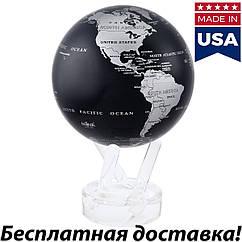 Серебристо-черный самовращающийся глобус Mova Политическая карта (3 размера)