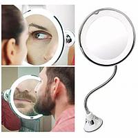 Косметичне гнучке дзеркало на присоску LED MIRROR 10X зі збільшенням і підсвічуванням