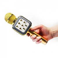 Безпровідний мікрофон для караоке WS-1818 з функцією зміни голосу Золотистий (006556 Золото)