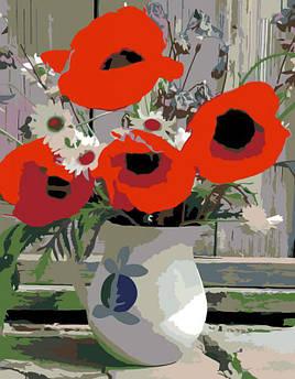 """Картина по номерам. Rosa Букеты, Маки, ромашки """"Полевые цветы"""" 35х45см БЕСПЛАТНАЯ ДОСТАВКА """"Justin"""""""