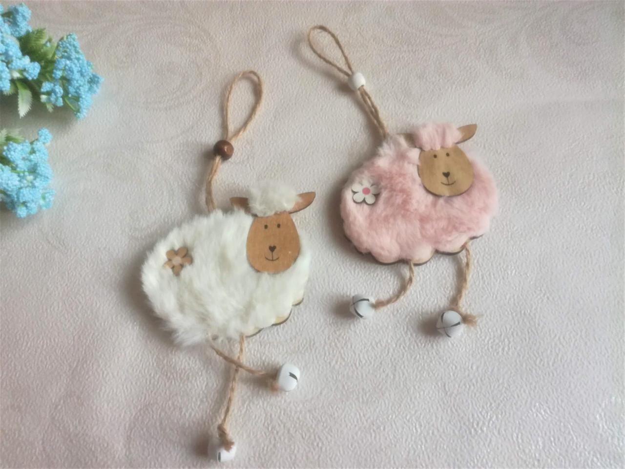Пасхальный декор, овечка с колокольчиком. 2 шт