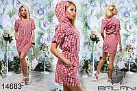 Летнее хлопковое платье с капюшоном в клеточку с пояском на резинке трех цветов  р.42,44 код 330Д