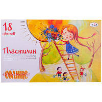 "Пластилин Гамма ""Оранжевое солнце"" 18 цветов, со стеком, картон"