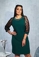 Нарядное приталенное женское платье с рукавами флок размеры 50-60 арт 8622