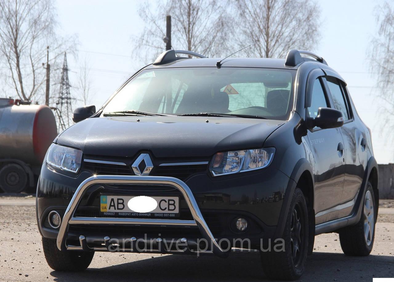 Кенгурятник с грилем (защита переднего бампера) Renault Sandero (Stepway) 2012+