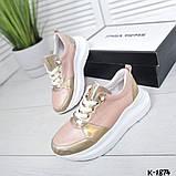 Класснючие кожаные женские кроссовки, фото 2