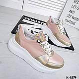 Класснючие кожаные женские кроссовки, фото 3
