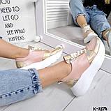 Класснючие кожаные женские кроссовки, фото 4