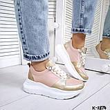 Класснючие кожаные женские кроссовки, фото 6